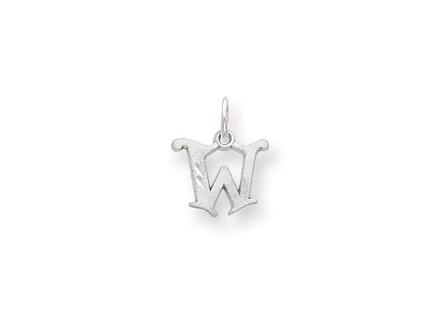14k White Gold Diamond-cut Initial W Charm