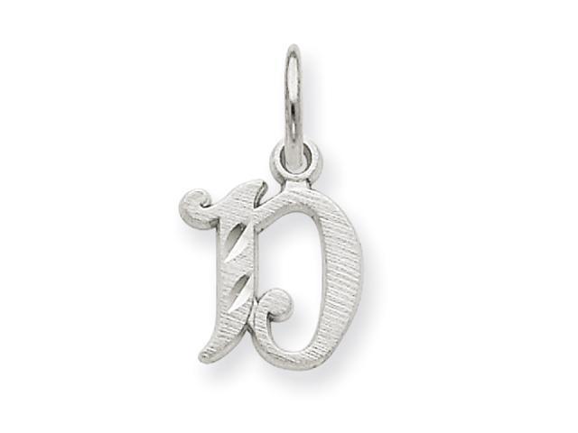 14k White Gold Diamond-cut Initial D Charm