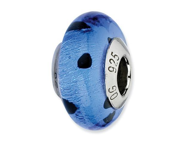 Sterling Silver Reflections Blue/Black Dots Italian Murano Bead