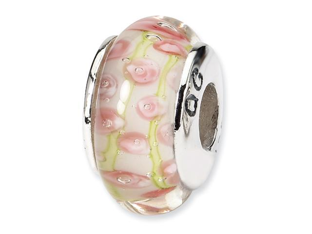 Sterling Silver Reflections PalePink/Green Hand-blown Glass Bead