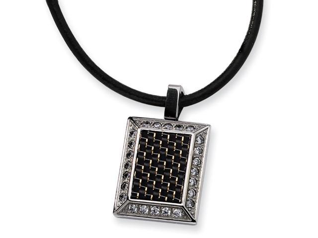 Stainless Steel Gold and Black color CZ Carbon Fiber Pendant
