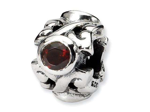 Sterling Silver Reflections Red CZ Bead