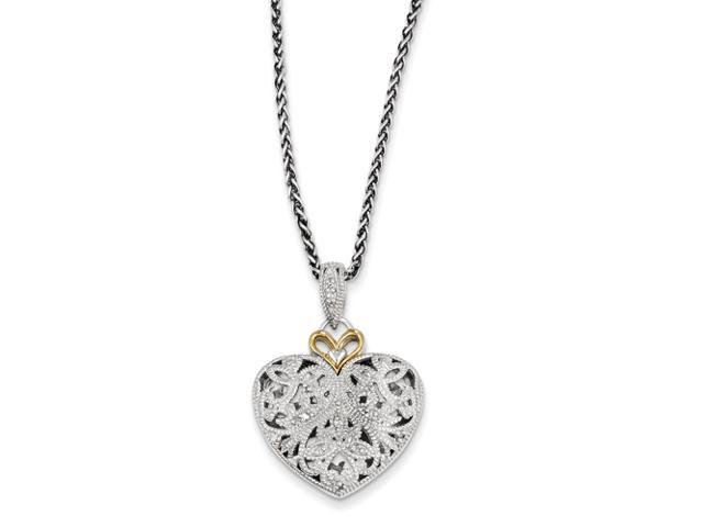 Sterling Silver w/14ky Diamond Vintage Heart Pendant