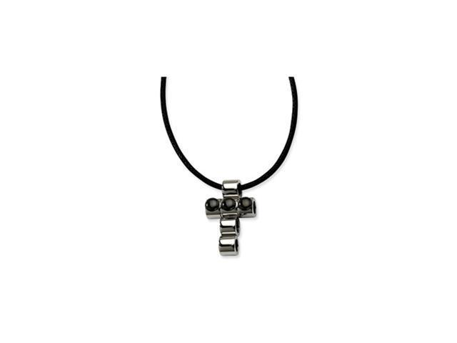 Stainless Steel Polished w/ Black-plated Beads Cross 20in Pendant Neckalce