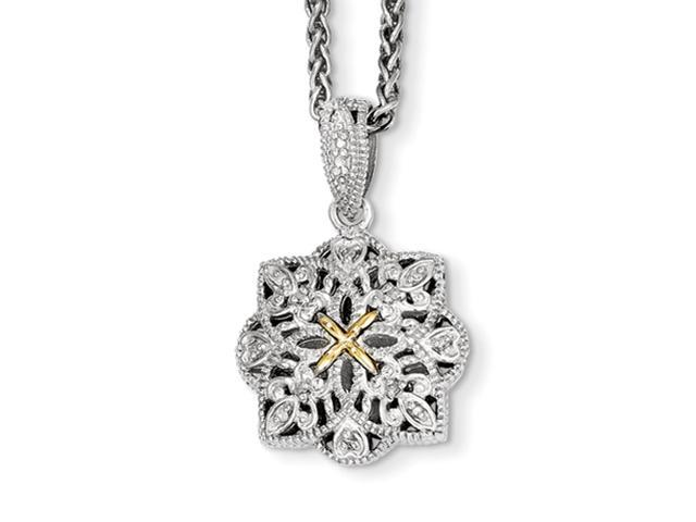 Sterling Silver w/14ky Diamond Vintage Pendant