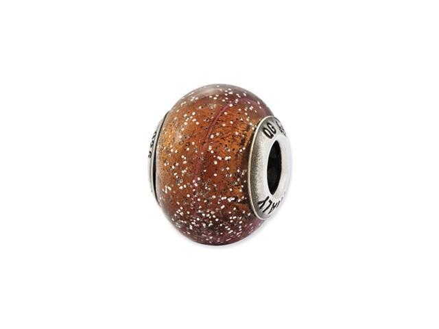 Sterling Silver Reflections Italian Light Brown w/Glitter Glass Bead