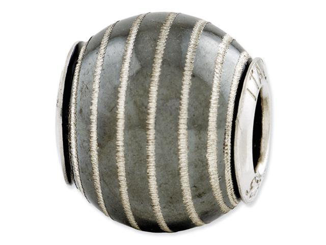 Sterling Silver Reflections Black Matte w/Laser Etched Swirl Bead