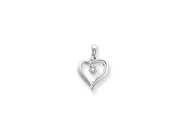 14k White Gold AA Diamond heart pendant
