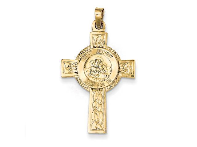 14k Cross with St Anthony Medal Pendant