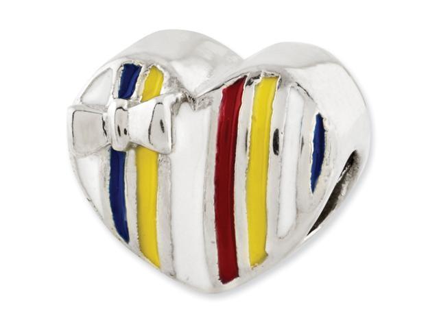 Sterling Silver Reflections Kids Enameled Heart Bead
