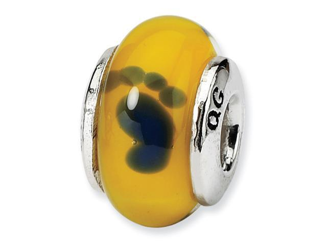 Sterling Silver Reflections Kids Yellow Foot Mur.Glass Bead