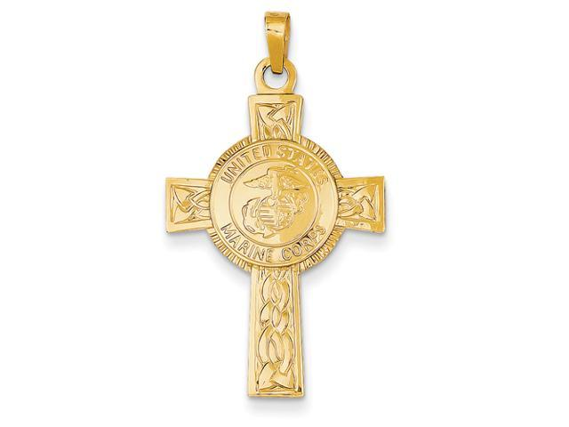 14k Cross with Marine Corps Insignia Pendant