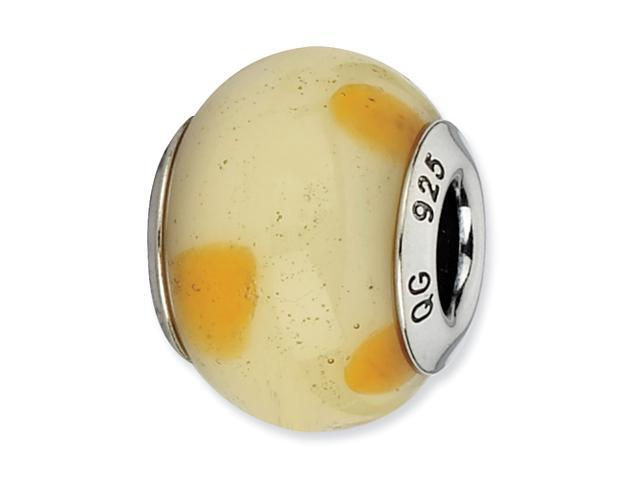 Sterling Silver Reflections Cream w/Dots Italian Murano Bead