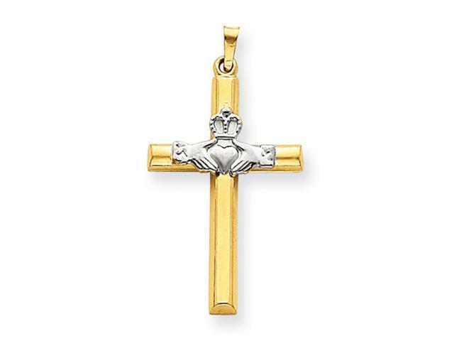 14k Two-tone Claddagh Cross Pendant