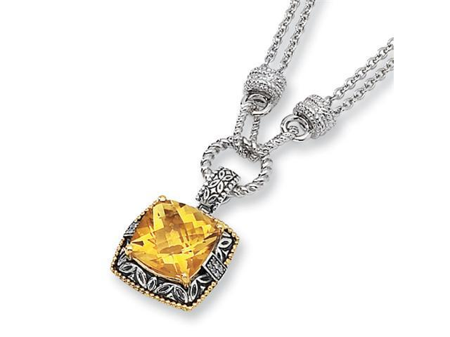 Sterling Silver/14ky Diamond and Citrine 17in Pendant