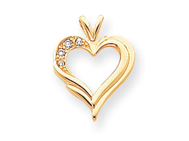 14k AA Diamond heart pendant Diamond quality AA (I1 clarity, G-I color)