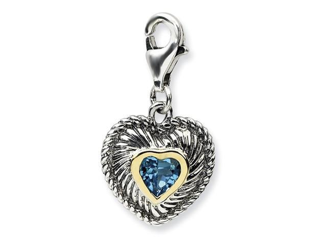 Sterling Silver w/14ky Blue Topaz Antiqued Charm
