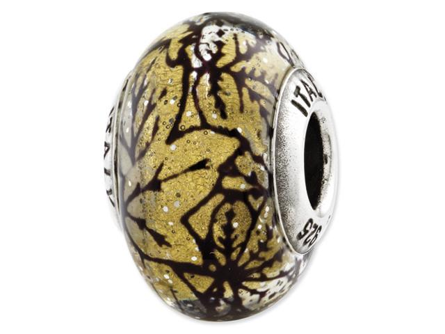 Sterling Silver Reflections Yellow w/Black Lines Italian Murano Glass Bead