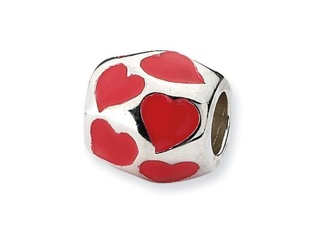 Sterling Silver Refelections Red Enameled Hearts Bead