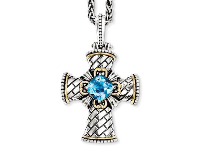 Sterling Silver/14ky Antiqued Blue Topaz 18in Cross