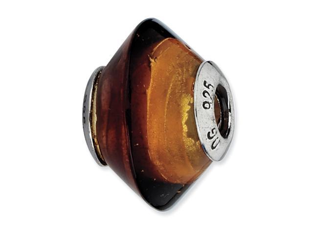 Sterling Silver Reflections Brown & Gold Italian Murano Glass Bead
