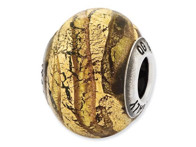 Sterling Silver Reflections Italian Light Bronze & Gold Colored Glass Bead