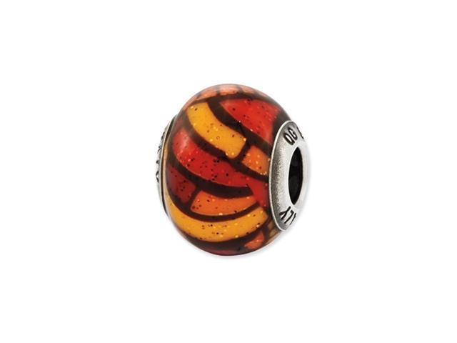 Sterling Silver Reflections Italian Orange Decorative Overlay Glass Bead