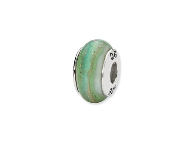 Sterling Silver Reflections White/Green/Blue Hand-blown Glass Bead