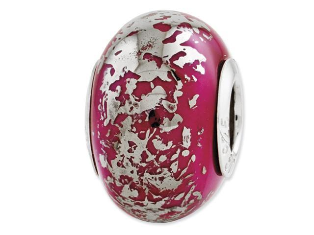 Sterling Silver Reflection Dark Pink w/Platinum Foil Ceramic Bead