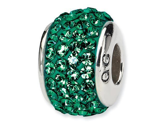 Sterling Silver Reflections Medium Green Full Swarovski Elements Bead