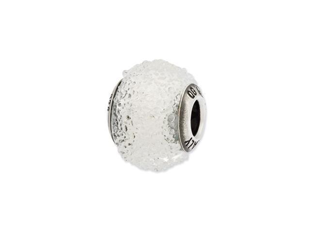Sterling Silver Reflections Italian White Textured  Glass Bead