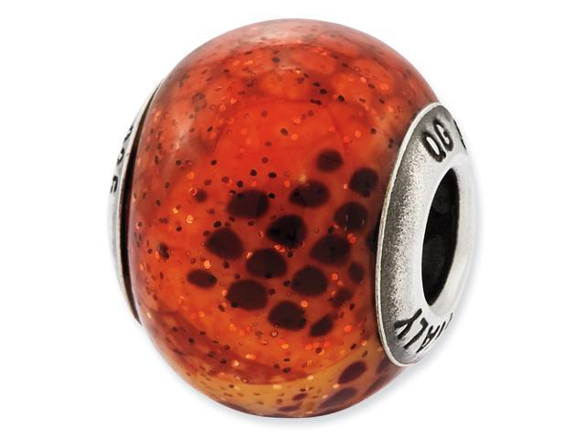Sterling Silver Reflections Italian Pink & Orange Python Glass Bead