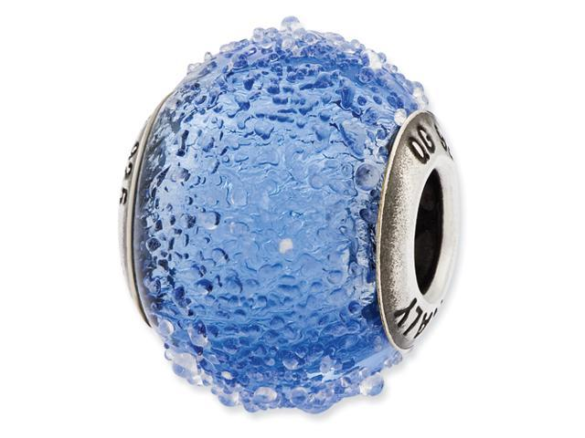 Sterling Silver Reflections Italian Blue Textured  Glass Bead