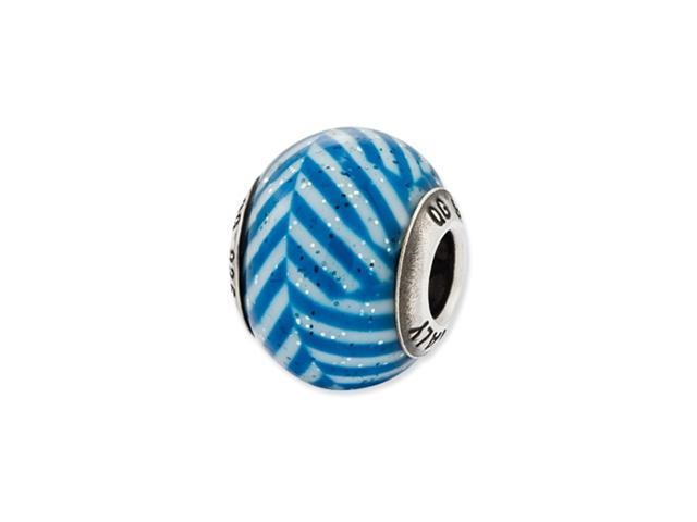Sterling Silver Reflections Italian Blue Stripes w/Glitter Glass Bead