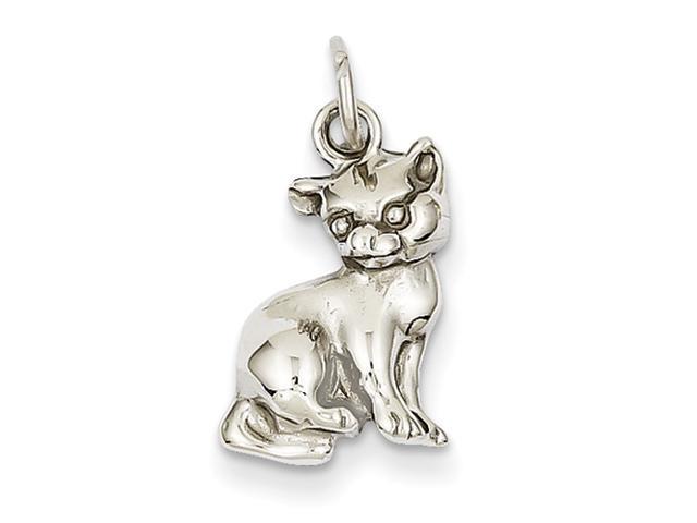 14k White Gold Cat Charm