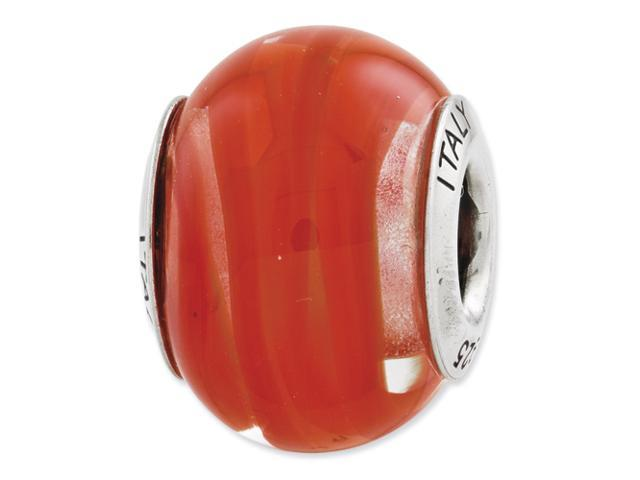 Sterling Silver Reflections Orange/Red Italian Murano Glass Bead
