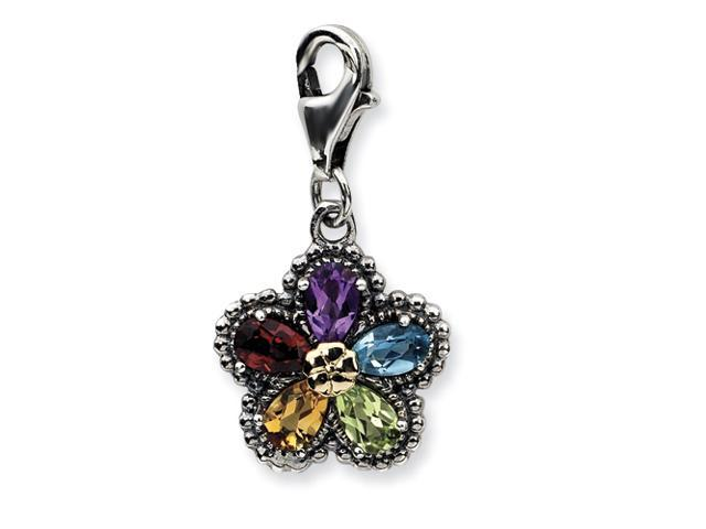Sterling Silver w/14ky 3-D Antiqued Gemstone Flower  w/Lobster Clasp Charm