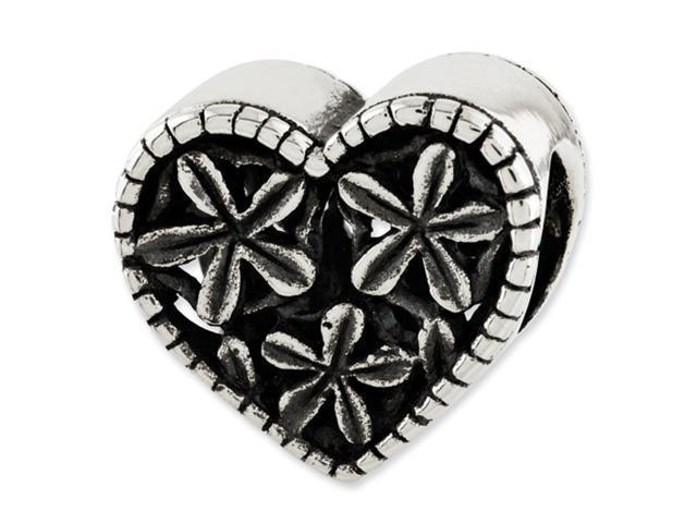 Sterling Silver Reflections Heart w/Flowers Bead