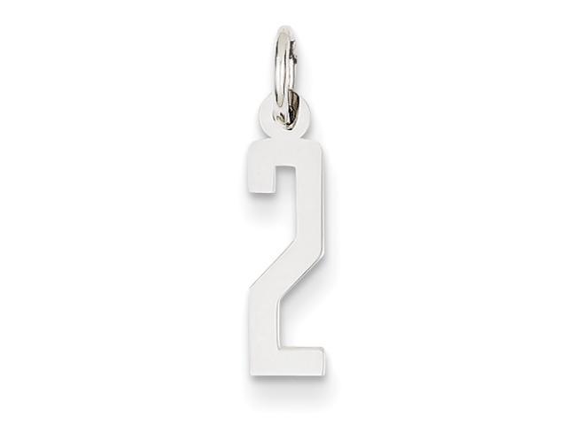 14k White Gold Small Polished Elongated 2 Charm