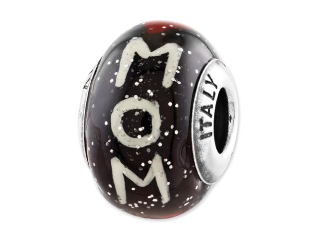 Sterling Silver Reflections Mom w/Hearts Black Italian Glass Bead