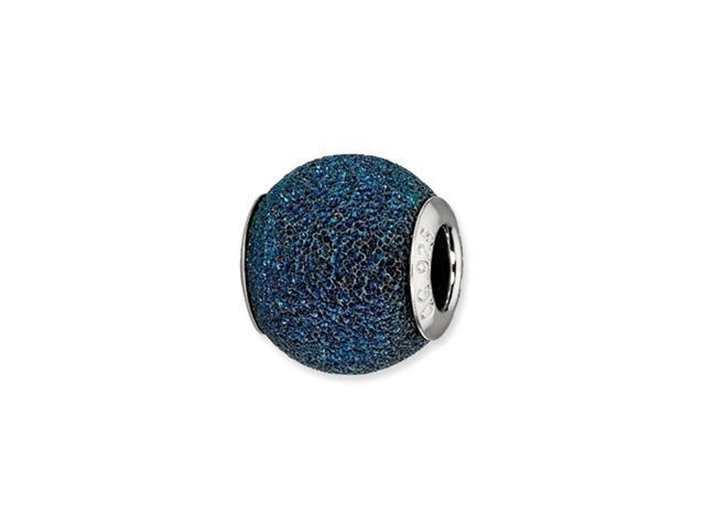 Sterling Silver Reflections Blue Laser Cut Bead