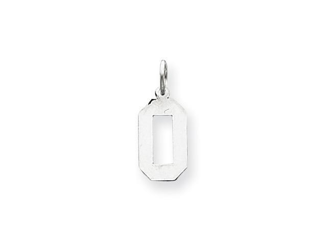 14k White Gold Medium Polished Number 0 Charm