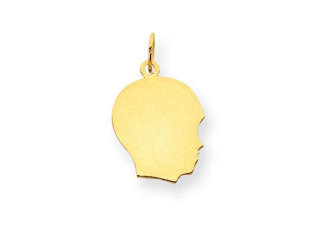 14k Plain Medium .011 Gauge Facing Right Engraveable Boy Head Charm