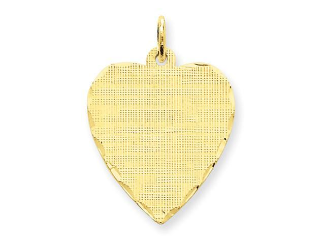 14k Patterned .018 Gauge Engraveable Heart Disc Charm