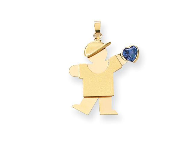 14k Boy with CZ December Birthstone Charm