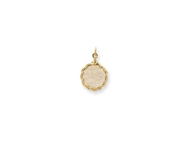14k Patterned .013 Gauge Circular Engraveable Disc with Rope Charm