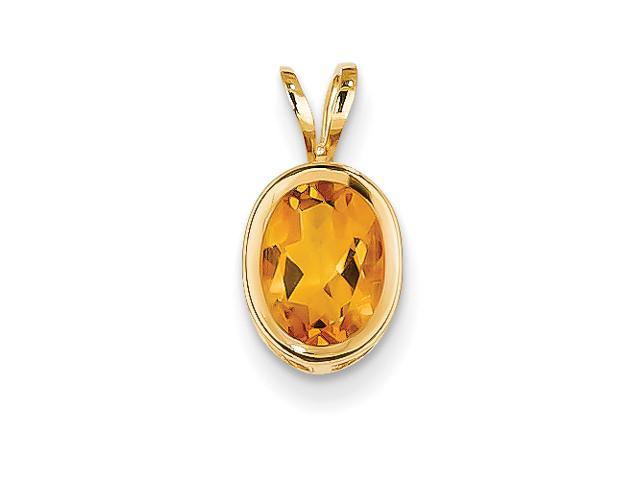 14k 8x6mm Oval Citrine bezel pendant