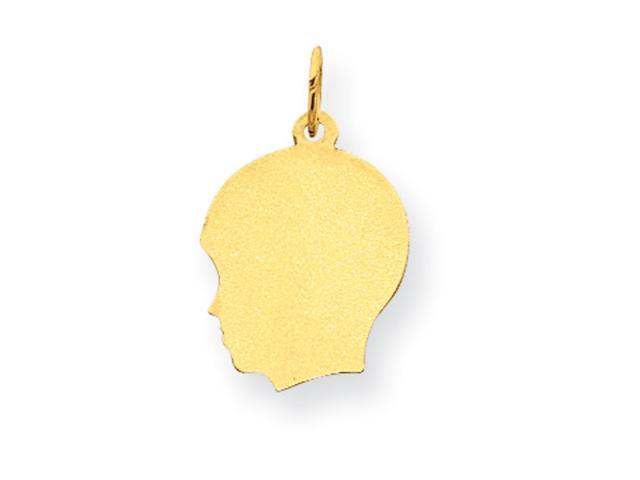 14k Plain Medium .011 Gauge Facing Left Engraveable Boy Head Charm