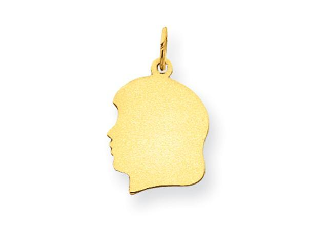 14k Plain Medium .013 Gauge Facing Left Engraveable Girl Head Charm