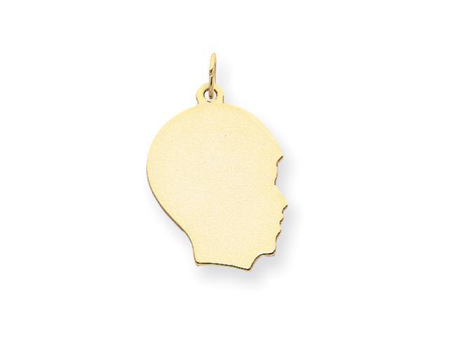 14k Plain Medium .011 Gauge Facing Right Engraveable Boy Head Charm